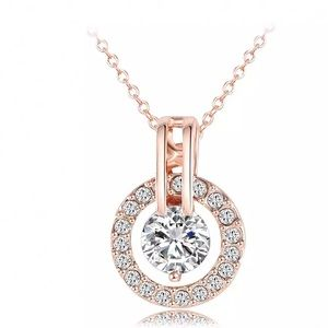 Rose Gold Plated Pendant Necklace with CZ Stones